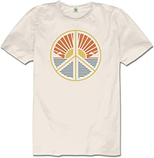 product image for Soul Flower Men's Peace Scene Organic Cotton Short Sleeve T-Shirt, Natural Crew Neck Tee for Men and Women