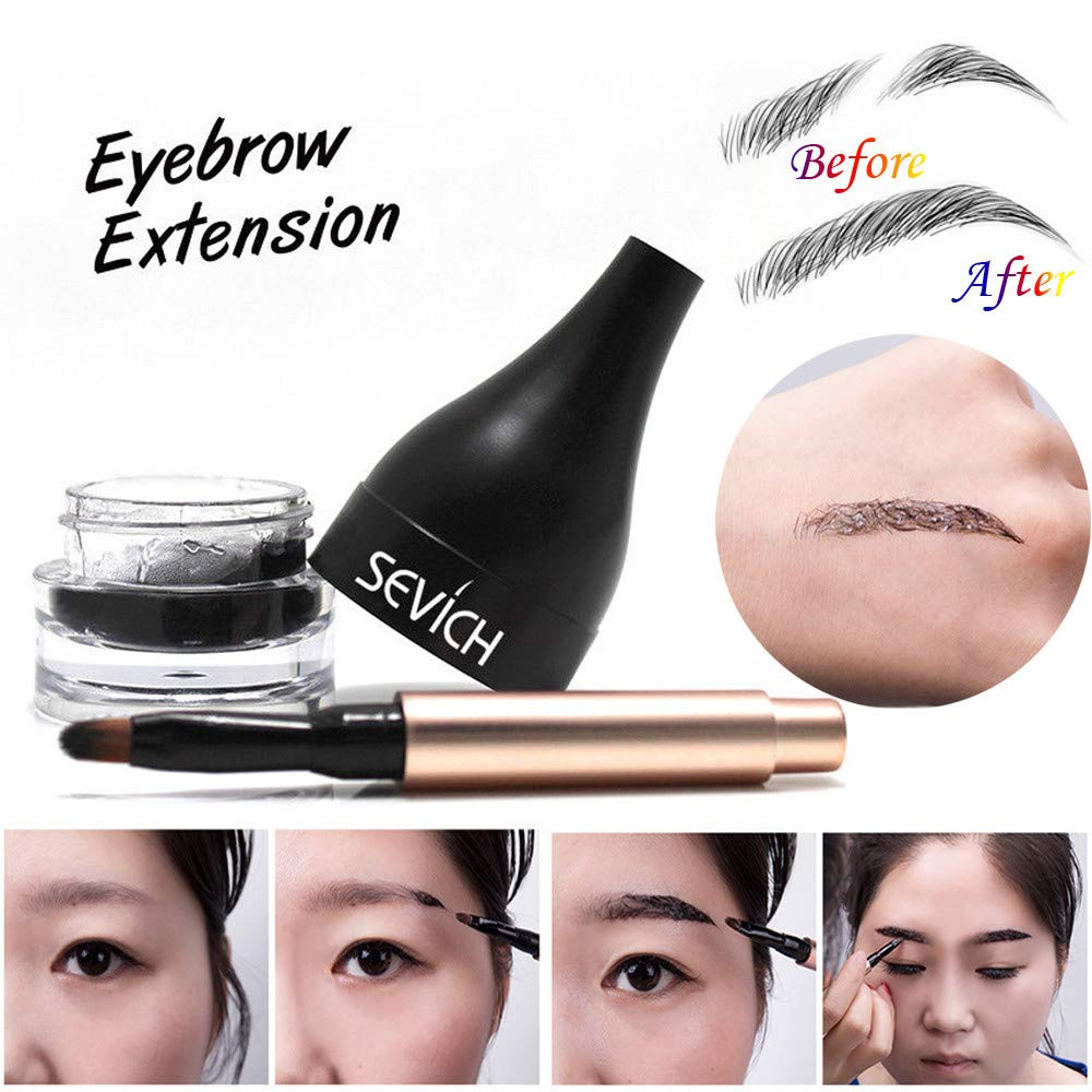 Long Lasting Eyebrow Extensions Gel Fiber for Waterproof Eyebrow Makeup, Building Brow Hair and Eye Brow Brush-QIBEST (B) Ouneed