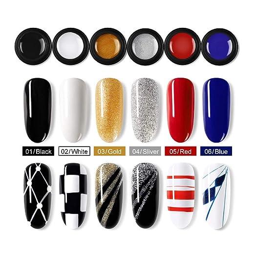 Saint-Acior 6PCS Esmalte en Gel Uñas Decoración de Uña Arte Diseño Pintura de Línea 5ml Uñas kit de Manicura Nail Art: Amazon.es: Belleza
