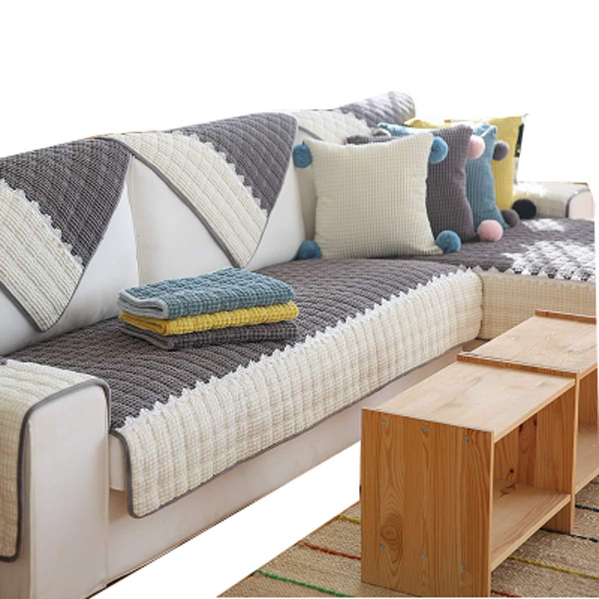 DFamily Plüsch Sofabezug Moderne Einfache Sofa überwürfe Anti-rutsch Schmutzabweißend Möbel Protector Für Wohnzimmer-Grau 70x150cm(28x59inch)(1 Stück)