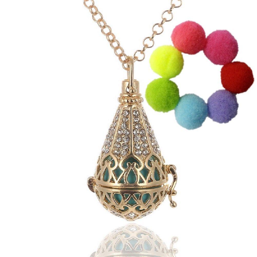 Sharefashion Copper Teardrop Water Drop Flower Rhinestone Cone Locket Necklace Essential Oil Aromatherapy Diffuser QYZ160122001