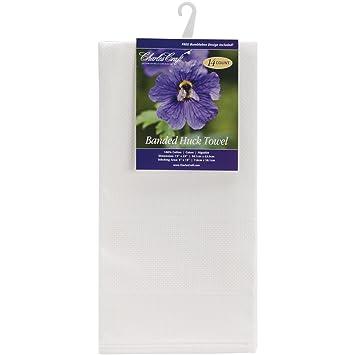 DMC hf6601 - 6750 algodón toalla de Huck bandas, color blanco: Amazon.es: Hogar