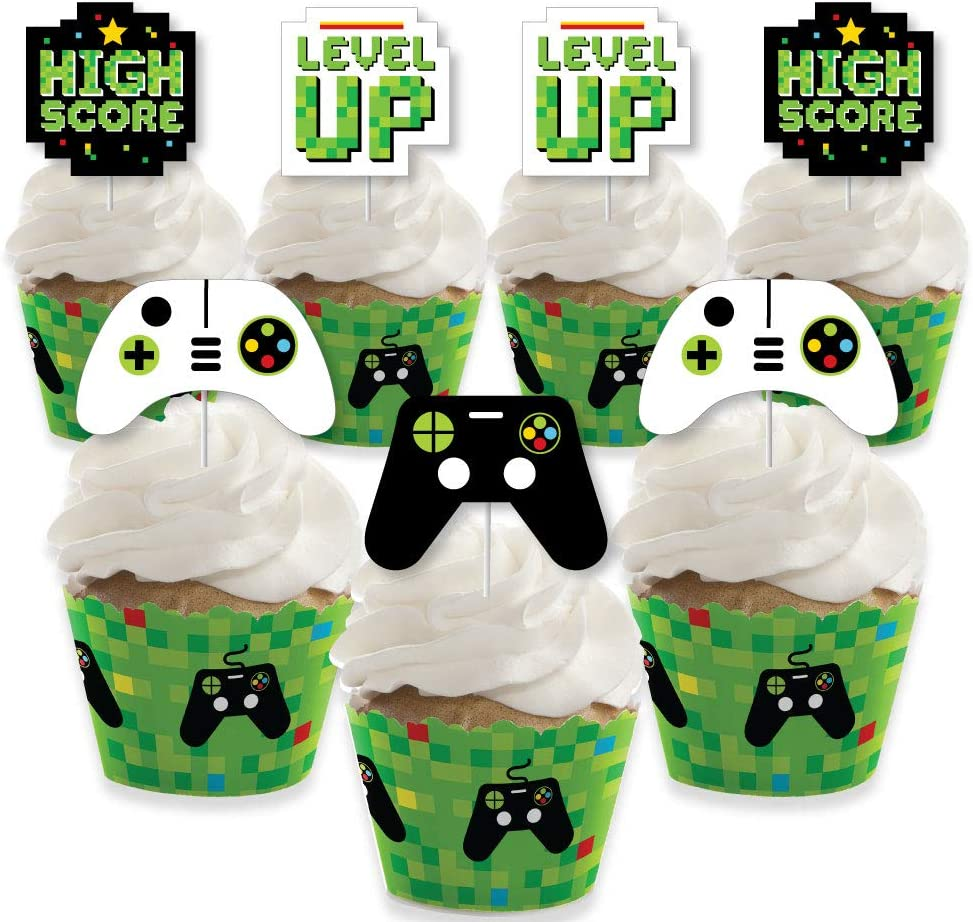 Big Dot of Happiness Game Zone - Cupcake Decoration - Pixel Video Game Party or Birthday Party Cupcake Wrappers and Treat Picks Kit - Set of 24