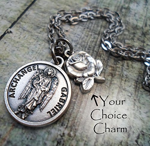 Archangel Gabriel Prayer Charm Necklace, Patron Saint, Keychain or Purse-Backpack Clip ()