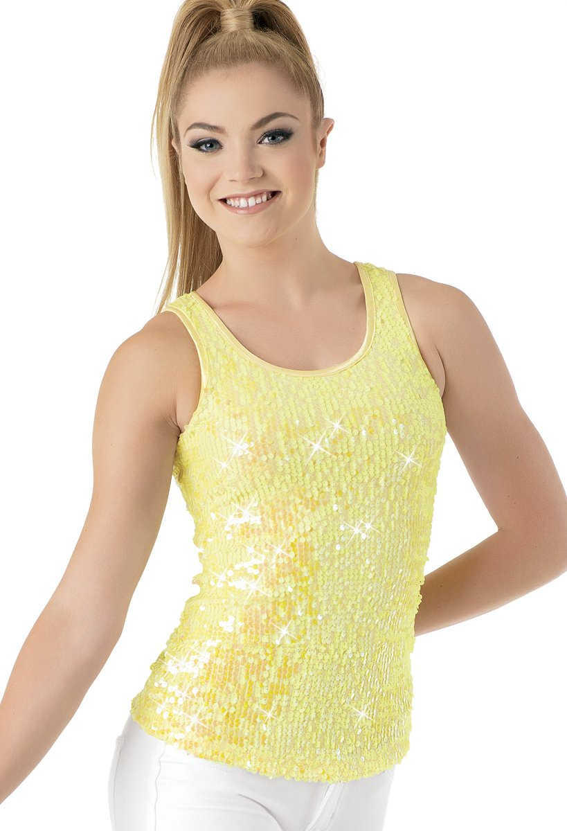 Balera Dance Sparkle Tank Iridescent Sequin Lemon Child Medium by Balera