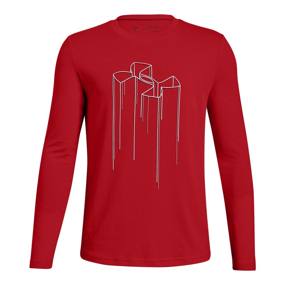 Under Armour Boys Electro Branded Long sleeve Tee, Red (600)/Black, Youth Medium