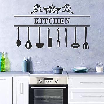 decalmile Wandtattoo Küche Prüche Kitchen Messer Gabel Löffel küchen ...