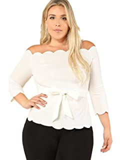 b9be26b1 Romwe Women 's Plus Size 3/4 Sleeve Off The Shoulder Top Scalloped Peplum