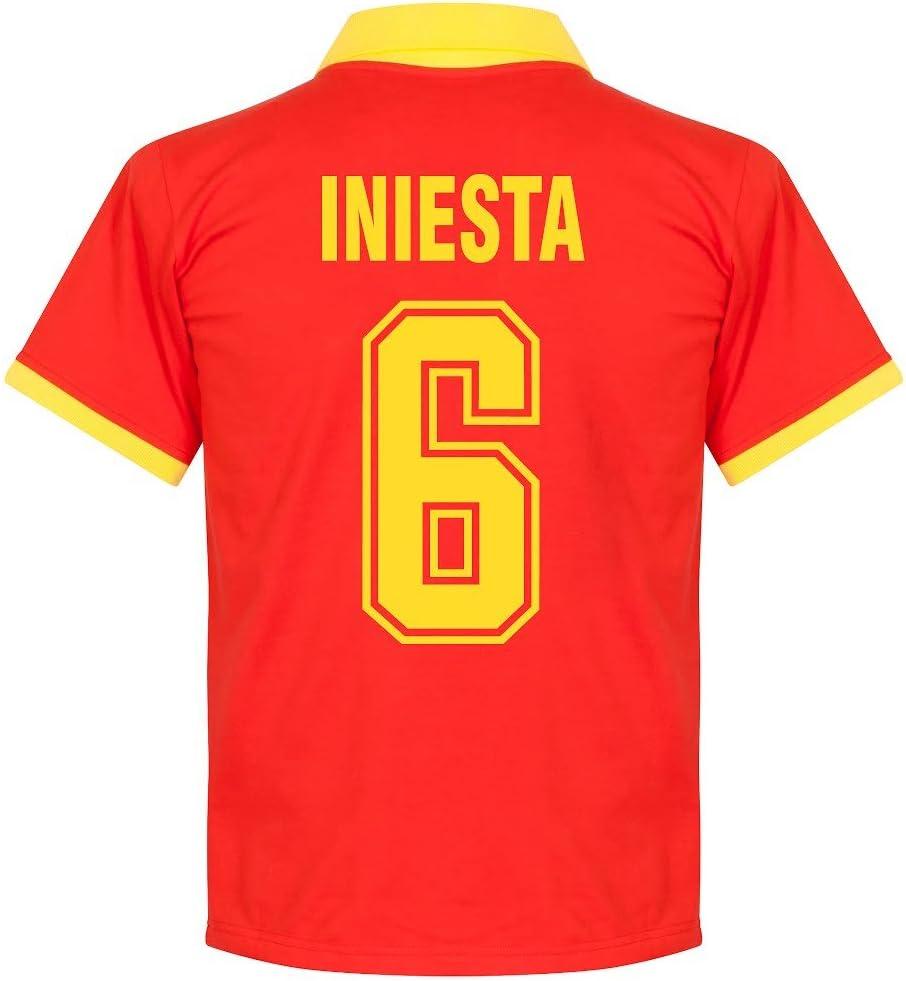 Camiseta Retro de España 1970s Local +Iniesta 6 (Estilo Fan) - M: Amazon.es: Deportes y aire libre