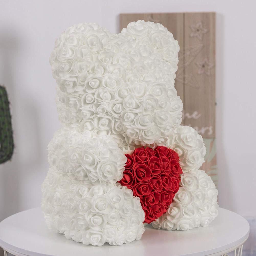 Rose Ours en Peluche Mousse Artificielle Rose Ours Floral Valentines Anniversaire /éternelle cr/éative Romantique Cadeau pour Anniversaire de Mariage Anniversaire Saint-Valentin