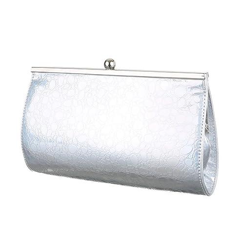 29f65759d6 Ital-Design Ital-DesignAbendtasche Bei Borsa da sera Donna, bianco (Bianco  argento