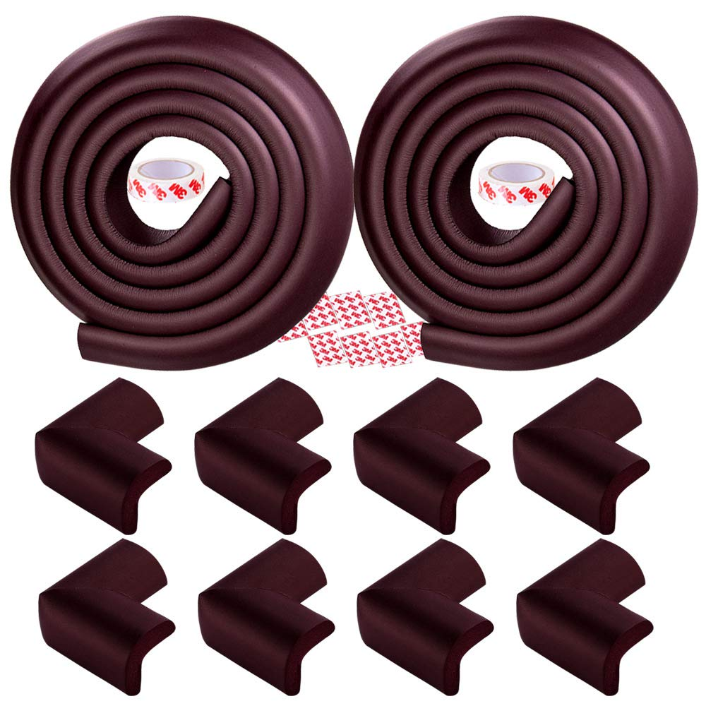 2 Rolls Soft Edge Cushion Guards and 8 Corner Protectors with Adhesive Stickers 13ft Brown Corner Protectors for Kids Baby Safety Proofing Extra Thick Furniture Table Edge Corner Guards Set
