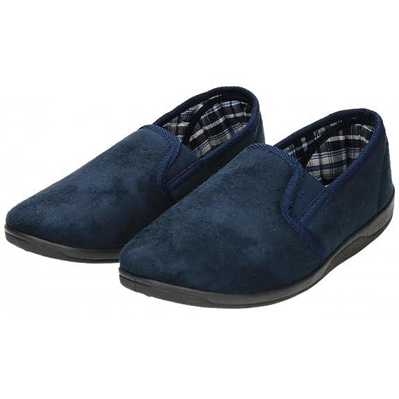 Hombre Zapatillas Ante Imitación Doble Costura Sin Cordones Espuma Viscoelástica Plantilla - Azul, sintético y tela, Hombre, 10 UK / 44 EU