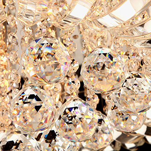 Modern Round Curved Crystal Flushmount Chandelier with Chrome Canopy Lighting Ceiling Light (Small) by Lovedima (Image #6)