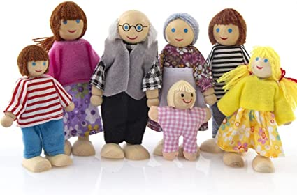 6 Wooden Family Members Dolls Set Kids Children Toy Dollhouse Figures Dressed