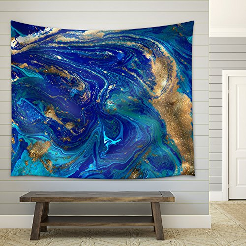 Marbled Blue Abstract Background Liquid Marble Pattern Fabric Wall