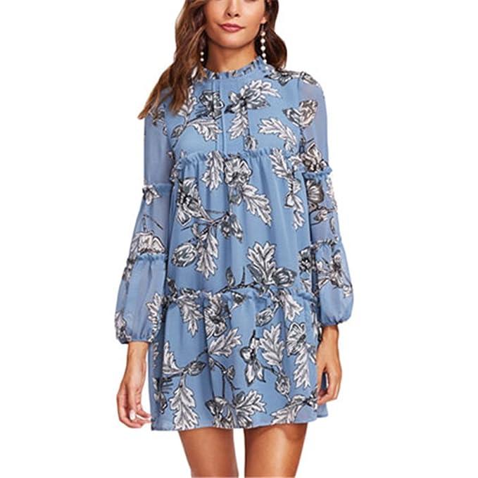 Detalle del volante obispo manga con gradas botánico vestido recto Vestido largo azul con mangas florales mujeres vestido casual: Amazon.es: Ropa y ...