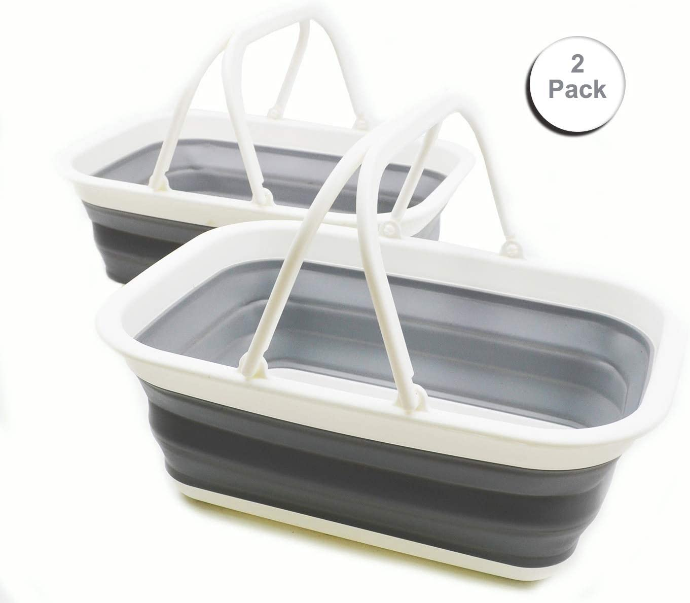 SAMMART 9.2L 2.37Gallon Collapsible Tub with Handle – Portable Outdoor Picnic Basket Crater – Foldable Shopping Bag – Space Saving Storage Container 2, White Grey