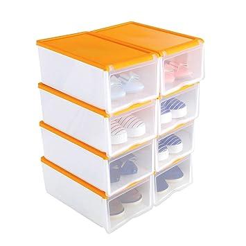 8X Cajas de Zapatos Apilable Plástica Transparente, Organizador de Zapatos, Caja de Almacenamiento, 33 x 22 x 14cm Naranja, Uuhome: Amazon.es: Hogar