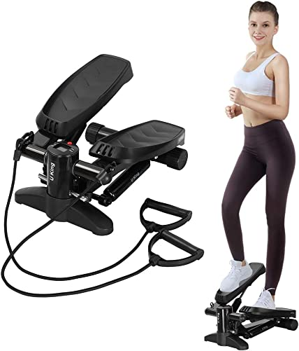 U KING Swing Stepper Including Resistance Bands and LCD Display and Comfortable Foot Pedal