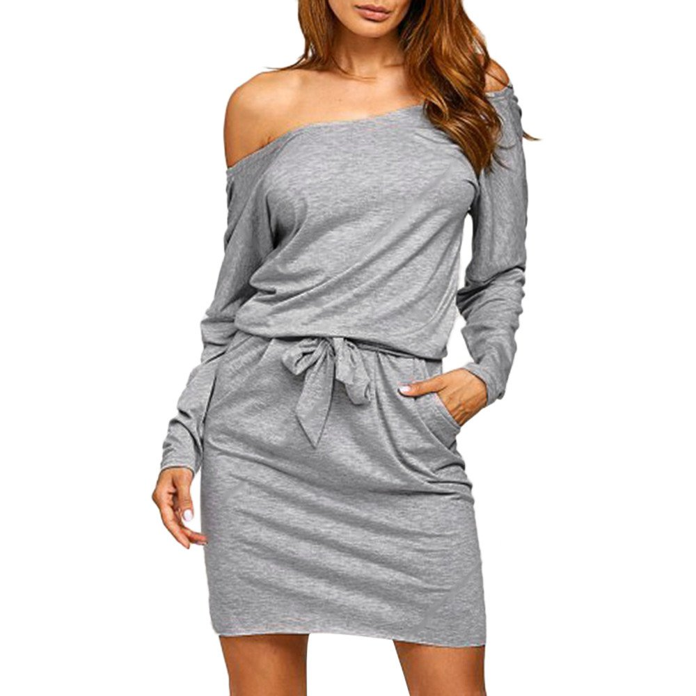 JESPER Women Cotton Soft Sexy Solid Off Shoulder Long Sleeve Elastic Band Evening Party Mini Dress Gray