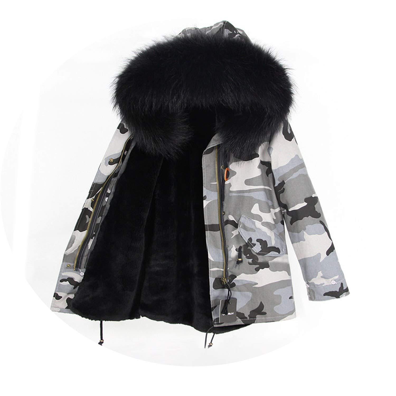 18 EnjoySexy Parka Winter Jacket Coat Women Natural Raccoon Fur Collar Hooded Warm Soft Faux Fur Liner