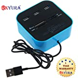 Combo card reader; All In One Combo Card Reader+3 Port Usb Hub Blue