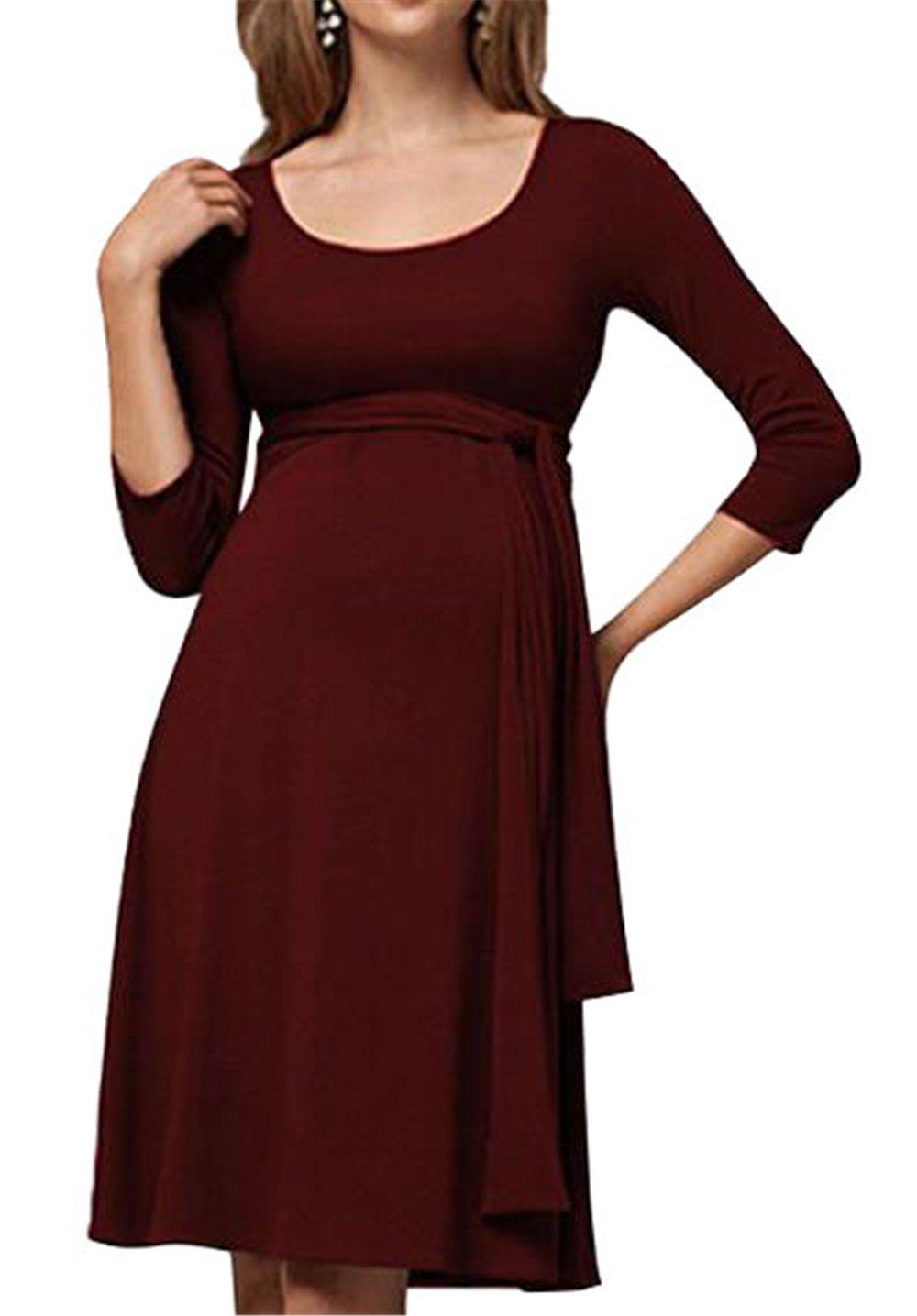 BESTHOO Vestido Para Embarazadas Mujer Vestido a Capa Lactancia Senora Vestidos De Verano Color Solido Mujeres Dress Manga 3/4 Cuello Redondo Vestido ...