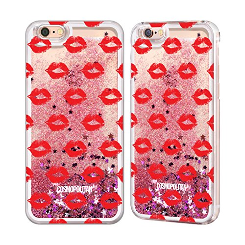 Official Cosmopolitan Red Kiss Mark Pink Liquid Glitter Case Cover for Apple iPhone 6 / 6s