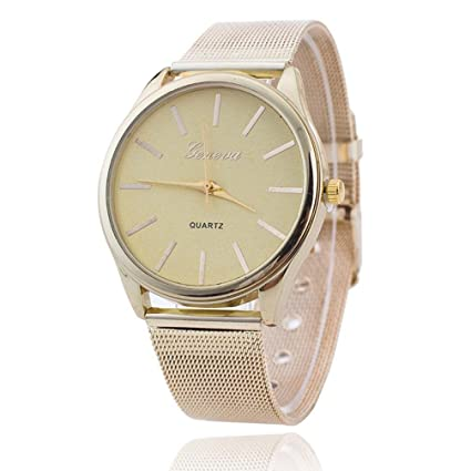 Vovotrade elegante mujer damas de cristal de oro Wristand malla reloj (dorado)
