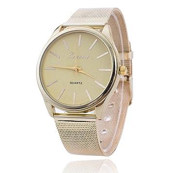 Vovotrade elegante mujer damas de cristal de oro Wristand malla reloj (dorado): Amazon.es: Deportes y aire libre