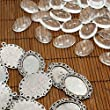 PEPPERLONELY Brand 10 Sets Antiqued Silver Cabochon Frame Setting Tray Pendant with Clear Oval Glass Dome Tile Cabochon 18x25mm
