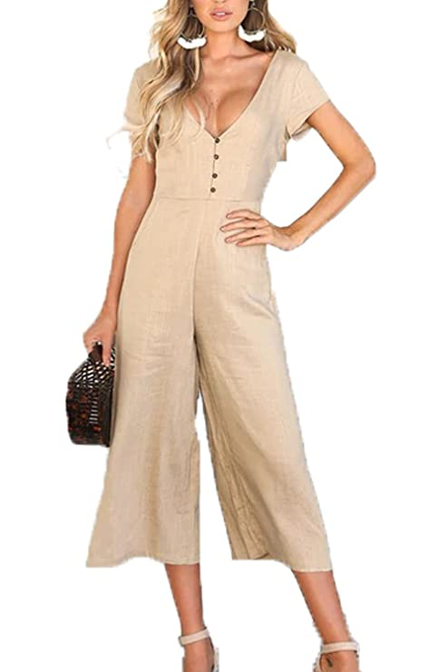 c621975e0c6b Suvimuga Womens Summer Jumpsuits V-Neck Short Sleeve Wide Leg Pants Rompers   Amazon.ca  Clothing   Accessories