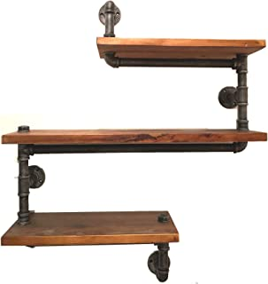 Industrial Pipe Shelving Bookshelf Rustic Modern Wood Ladder Pipe Wall Shelf 3 Tiers Wrought IronPipe Design  sc 1 st  Amazon.com : wooden fluid pipe - www.happyfamilyinstitute.com