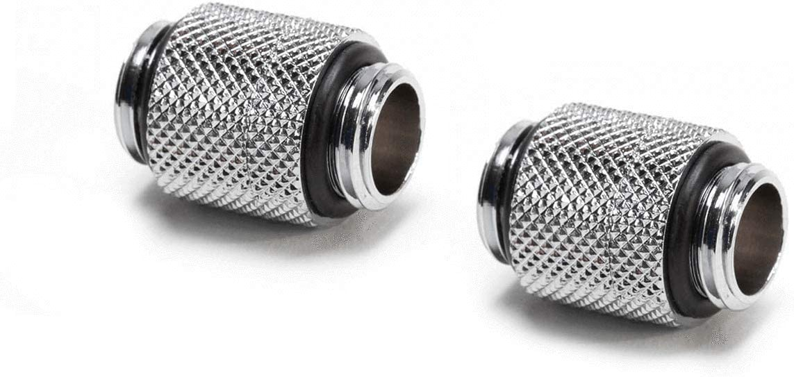 PrimoChill Male to Female G//14 90 Degree Dual Rotary Elbow Fitting Silver Nickel