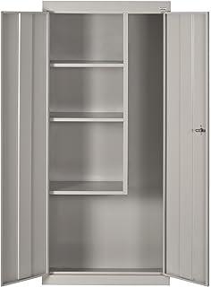 Sandusky Lee VFC1301566 05 Dove Gray Steel Janitorial/Supply Cabinet, 3  Fixed Side