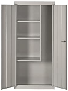 "Sandusky Lee VFC1301566-05 Dove Gray Steel Janitorial/Supply Cabinet, 3 Fixed Side Shelves, 66"" Height x 30"" Width x 15"" Depth"