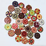 Doyeemei Mixed Multicolour Flower Print Patterns, 2 Holes Round Wooden Buttons, for Sewing, Scrapbooking, Embelishments, Crafts, Jewellery making, shabby chic, Knitting