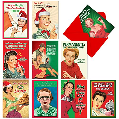 A1255 NAUGHTY IS NICE Assorted Hilarious Christmas Cards with 12 Envelopes (Box of 10 Designs, 1 Card per Design) (Card Designs Free)