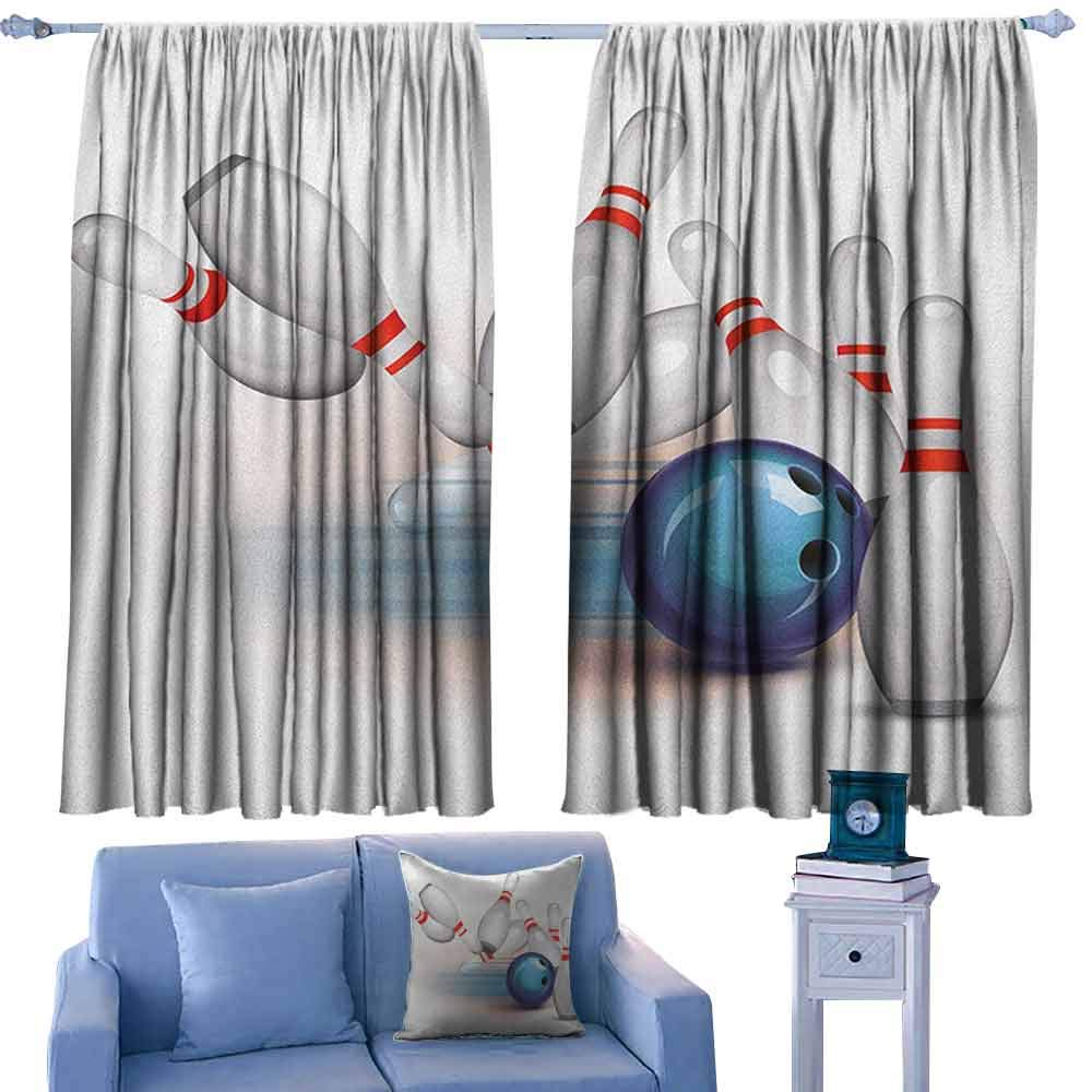 Bowling Party Curtains for Bedroom Thrown Ball and Scattered Pins Speed Hit The Target Shot Score,Drapes for Girls Living Room,W72 x L63 Inch by ParadiseDecor