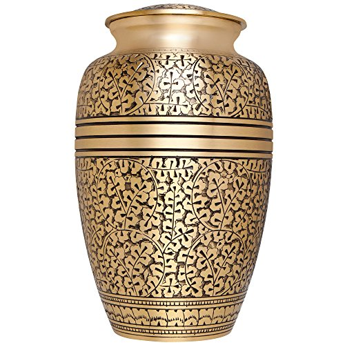 Liliane Memorials Gold Funeral Cremation Urn with Leaves Branches Model in Brass for Human Ashes; Suitable for Cemetery Burial; Fits Remains of Adults up to 200 lbs, Large/200 lb,
