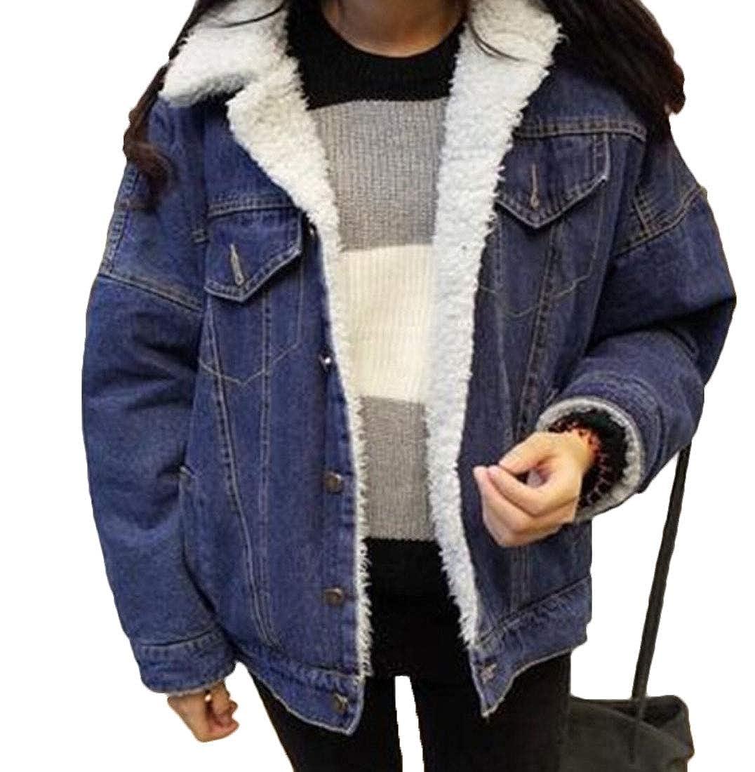 omniscient Women\'s Classic Loose Lapel Fleece Lined Denim Jacket Coat