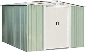 Goplus Galvanized Steel Outdoor Storage Shed 8.5X 8.5Ft Heavy Duty Tool House W/Sliding Door for Garden Lawn(Light Green)