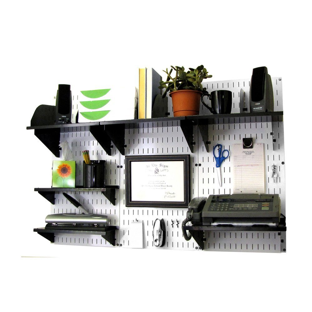 Wall Control 10-OFC-300 WB Office Wall Mount Desk Storage and Organization Kit, White/Black by Wall Control