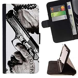 Jordan Colourful Shop - veritas gun truth slogan quote man hands For Apple Iphone 6 - < Leather Case Absorci????n cubierta de la caja de alto impacto > -
