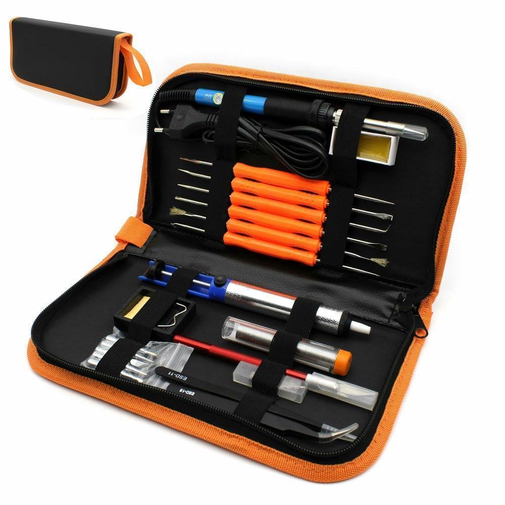 Adumly Electric Soldering Iron Tool Kit with PU Carry Case 110V 60W Adjustable Tempe