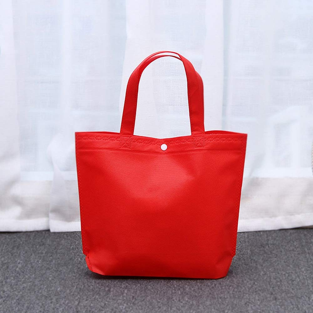 LiYao Solid Color Non-Woven Shopping Tote Bag Shoulder Bags Grocery Cloth Bags (Color : Red)