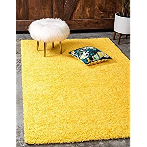 Unique Loom Solid Shag Collection Tuscan Sun Yellow 4 x 6 Area Rug (4' x 6')