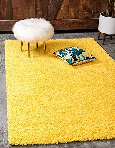 Cheap  Unique Loom Solid Shag Collection Tuscan Sun Yellow 3 x 5 Area..