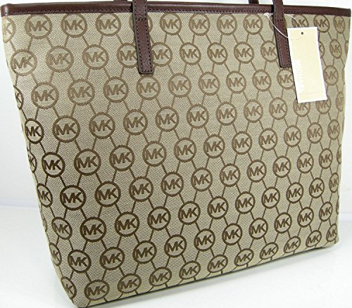 Michael Kors Women Montauk MK Logo Purse XL Hand Bag Tote Beige Ebony - Michael Kors Official And Site Store Online The